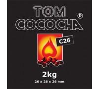 Кокосовый уголь Tom Cococha C26 1кг (64 шт), 26x26x26