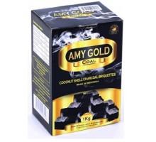 Уголь кокосовый  Amy Gold 1кг (72 шт), большой кубик